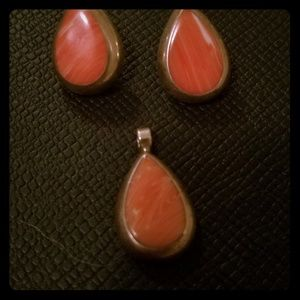 Vintage Coral and silver pendant and earrings